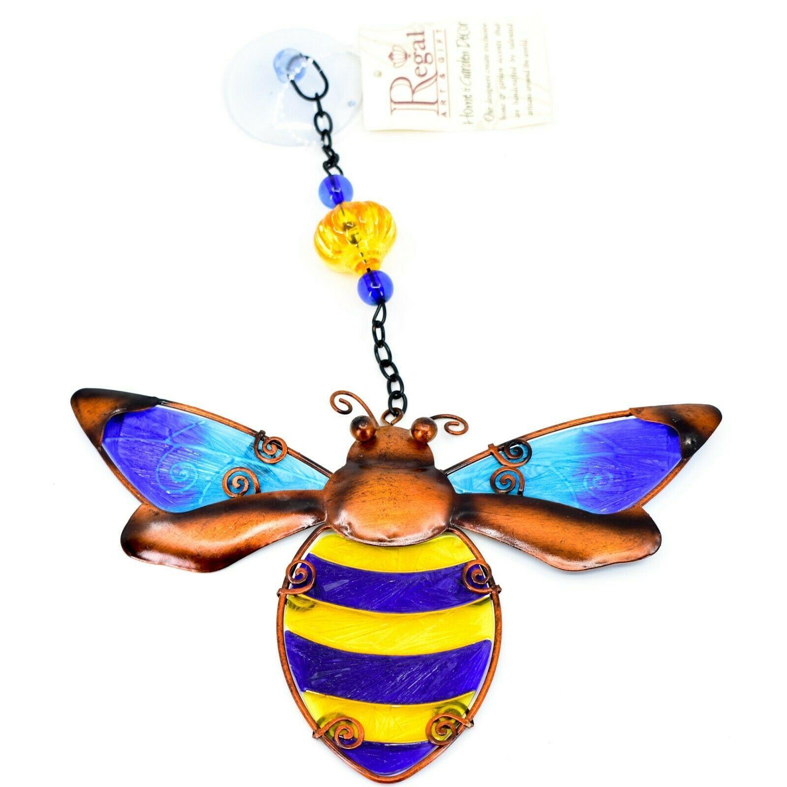 Regal Art & Gift Hand Painted Metal Glass Bumblebee Bee Sun Catcher Suncactcher
