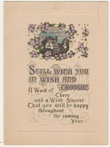 Vintage New Year Card House Purple Flowers Printed in USA Early 1900's - $8.90