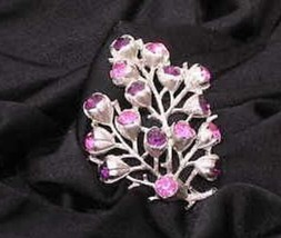 Sarah Coventry Pink Purple Crystal Tree Branch Floral Silvertone Pin Vintage - $27.93