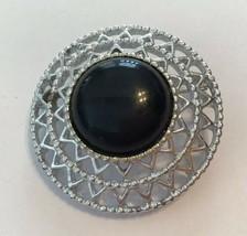 Vintage Sarah Coventry Silver Tone Black Cabochon Filigree Brooch - $9.85
