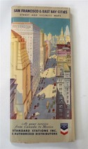 Vintage 1939 San Francisco Street And Bay Cities Map Standard Gasoline R... - $19.79