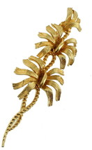 "VINTAGE CORO TWISTED STEM FLOWER PIN 4"" BRUSHED GOLD 1950-1960'S - $64.79"