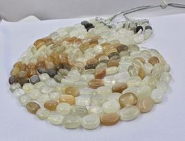 NATURAL MULTI MOONSTONE BEADS CABOCHON 5 LINE 950 CTS GEMSTONE LADIES NECKLACE image 8