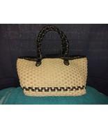Brighton woven straw & black leather hand bag satchel purse - $24.00