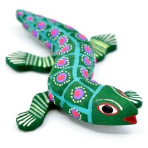 """Handmade Alebrije Oaxacan Wood Carving Painted Folk Art Alligator 3.25"""" Figurine image 2"""