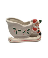 Santa and Sleigh Ceramic Planter Candy Cane Holder Made by Franklin Taiwan - $16.82