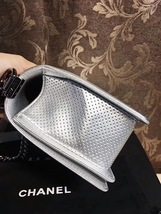 AUTH CHANEL LIMITED EDITION METALLIC SILVER PERFORATED LAMBSKIN MEDIUM BOY BAG  image 6