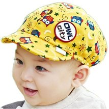 Cute Baby Beret Toddler Sun Protection Hat Infant Floppy Cap YELLOW Owl 3-15M