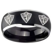 8mm Multiple CTR Dome Brushed Black 2 Tone Tungsten Mens Anniversary Ring - $39.99