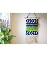 Merino Wool and Cotton Macrame Wall Hanging in Seattle Sports Colors - $55.00
