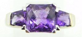 14k White Gold Ring with Three Specialty Cut Genuine Natural Amethysts (... - $325.00