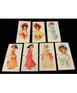 Antique Victorian Bridge Cards Leon Moran Printed Portrait Illustrations... - $60.74