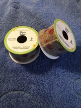 Natural Burlap Jute Wire Ribbon Black Polka Dots 9 Feet/ 3 Yards 1.5 Inc... - $9.90