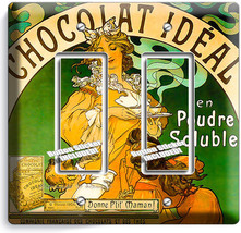 Vintage French Poster Chocolate Ad Light 2 Gang Gfci Switch Wall Plate Art Decor - $11.69
