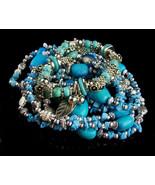 Boho Turquoise Necklace set - 4 bracelets - hippie jewelry - gypsy brace... - $95.00