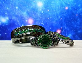 His & Hers 1.45 Ct Emerald 14k Black Gold Fn Trio Vintage Style Wedding Ring Set - $149.99
