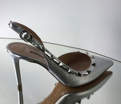 VALENTINO Rockstud Silver Leather Slingback Pumps  (Size 36 )-$895.00! - $649.95