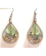 """V26 Green & orange woven & beaded 2.25"""" earrings (pierced ears, hook) - $4.94"""