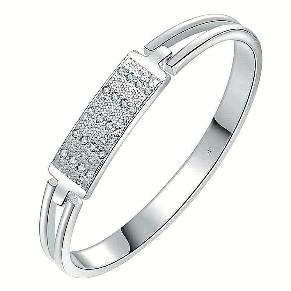 Primary image for Classic Jeweled Bangle Bracelet 925 Sterling Silver NEW