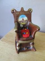 Vtg Ceramic HOME SWEET HOME West Virginia Rocking Chair Pincushion/Tape ... - $12.38