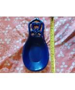 Vintage Blue Enamel-Covered Cast Iron Heavy Spoon Rest W/ Padded Bottom - €13,99 EUR