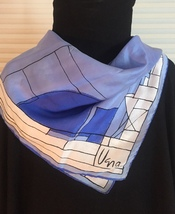 Vintage 60s Vera Neumann square silk scarf (Blue and white architectural) image 1