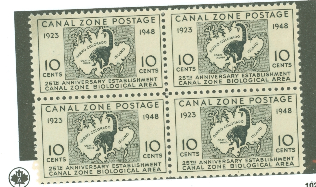 1948 Canal Zone Biological Area Block of 4 Postage Stamps Catalog Number 141 MNH
