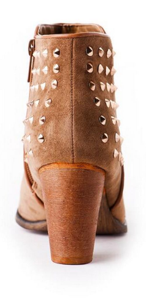 Wanted Newman Stud Ankle Bootie Brown Suede 10 M US
