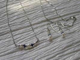 Estate Dainty Demi Sterling Silver Pearl & Hematite Bead Necklace & Earr... - $15.79