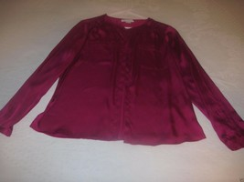 LIZ CLAIBORNE LADIES LS HOT PINK SATINY BLOUSE-M-100% POLYESTER-EXC. WOR... - $9.95