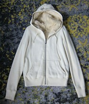 VINTAGE Juicy Couture Rabbit Fur Hoodie Sweatshirt in Ivory Cream Revers... - $174.24