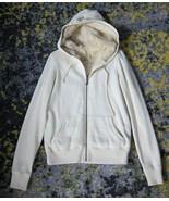VINTAGE Juicy Couture Rabbit Fur Hoodie Sweatshirt in Ivory Cream Revers... - $174.24