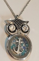 Owl Necklace Floating Anchor & Swarovski Crystals Charm Pendant Jewelry ... - $18.99