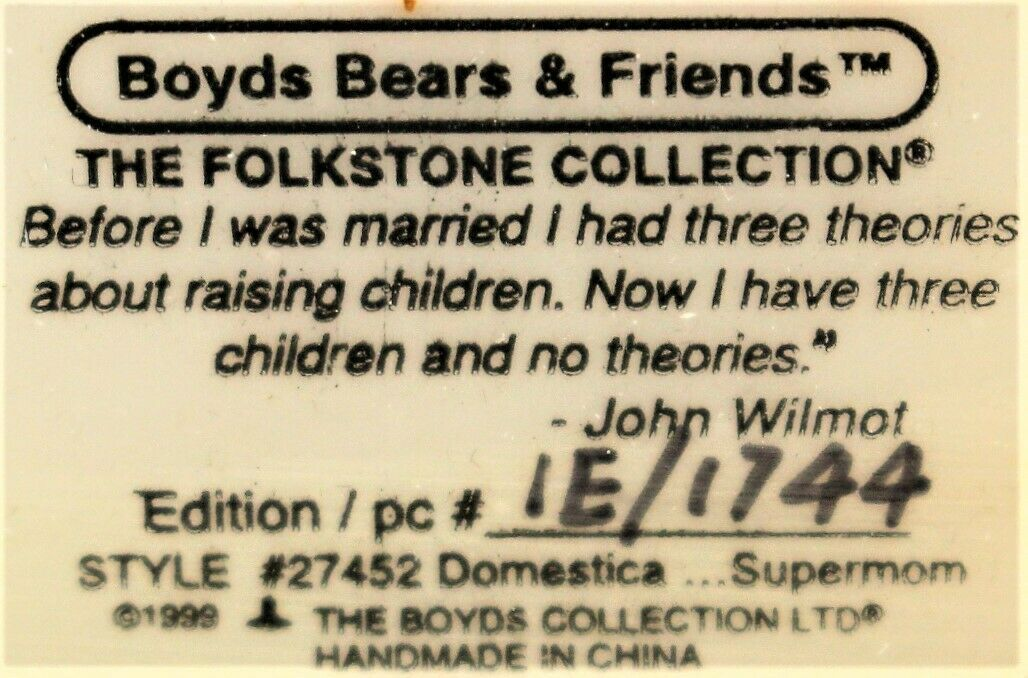 Boyd's Bears The Folkstone Collection Domestica...Supermom #27452 Picture Frame