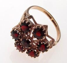Vintage 9 Carat Gold Garnet Set 7 Stone Cluster Style Ring  - $155.14