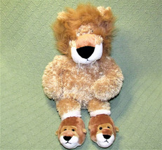 "Animal Adventure 18"" Lion Stuffed Animal With Teddy Bear Slippers Soft Floppy - $23.38"