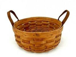 "Longaberger Hand-Woven 10"" Basket w/Natural Leather Strap Handles, Vintage 1987 - $29.35"