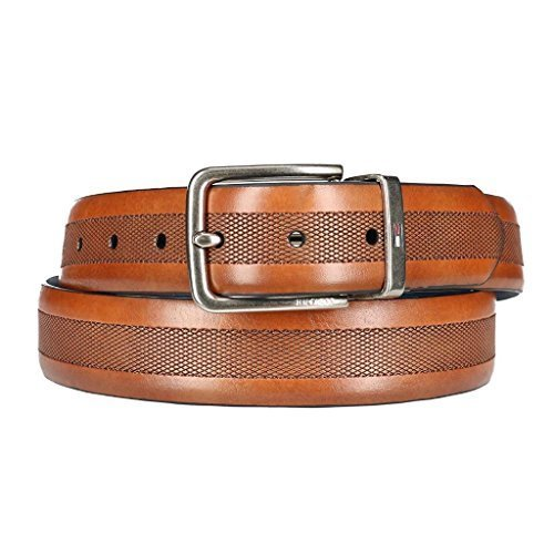 Tommy Hilfiger Men's Embossed Center Reverse to Navy Belt, 40, Tan / Navy