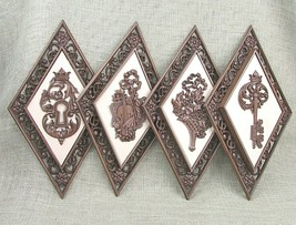 Set of 4 Dart Industries No. 4271 Gold & Ivory Diamond Wall Plaques Vint... - $13.44