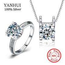 YANHUI Luxury Original 925 Sterling Silver Jewelry Wedding Sets Top SONA... - $51.29 CAD