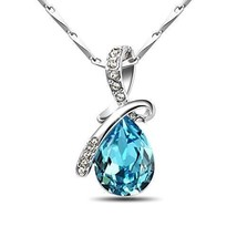 925 Sterling Silver Teardrop Pendant Necklace Made with Swarovski Jewelers - $27.71