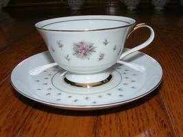 Nikko Seyei JAPAN Fine China Normandy Tea Cup & Saucer Rose Floral - $15.00