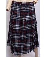 VTG Burberry Red Gray Navy Blue Tartan Plaid Wool Pleated Schoolgirl Ski... - $71.24