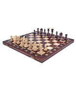 Handmade European Wooden Chess Set with 16 Inch Board and Hand Carved ch... - $93.99
