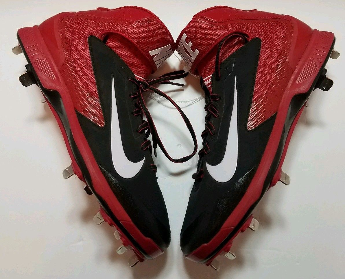 Primary image for Nike Huarache, Metal Baseball Cleats, 599235-016 Red Black White Size 12