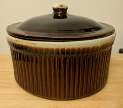 "Ribbed Round 8"" Diameter Casserole Dish & Vented Lid Brown Vintage Pottery - $12.00"