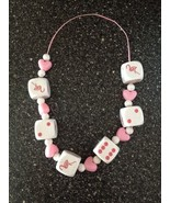 6 Pink Flamingo White Dice Pink Hearts White Beads Necklace Chain String... - $14.99