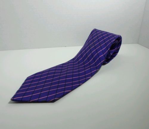 Van Heusen purple tie all silk with pink and black stripes