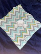 Blankets & Beyond White Bear Aqua Green Grey Chevron Baby Security Blank... - $19.79