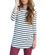 Tickled Teal Womens Striped Tunic 3/4 Sleeve Blouse - $28.65+